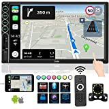 Double Din Car Stereo with Bluetooth Car Audio Receiver, Upgraded 7 ''Capacitive Touch Screen car Radio Support FM/USB/TF/Aux