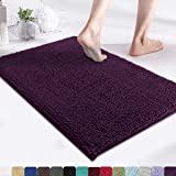 MAYSHINE 17x24 Inches Non-Slip Bathroom Rug Shag Shower Mat Machine Washable Bath Mats with Water Absorbent Soft Microfibers