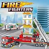 City Fire Station Building Kit Stem Toys,866 Pcs Ladder Fire Truck,Ambulance Building Blocks Models,Creative Education DIY Le