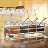 Clear Seasoning Rack Spice Pots by AIQI - 4 Piece Acrylic Seasoning Box - Storage Container Condiment Jars - Cruet with Cover