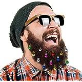 16pc Beard Ornaments Christmas Beard Bells Santa Claus Beard Clip 12 Colors of Bulbs and 4 Vibrant Ring Bells