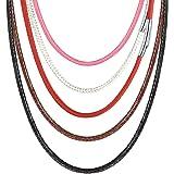 PROSTEEL 紐ネックレス メンズチョーカー チェーン 40cm~75cm ピンク ワックスコード 編み ステンレス 留め金 耐久性に (幅2mm)