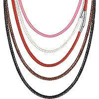 PROSTEEL 紐ネックレス メンズチョーカー チェーン 40cm~75cm ピンク ワックスコード 編み ステンレス…