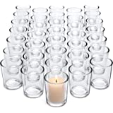 Letine Clear Glass Tealight Candle Holder - Glass Votive Candle Holders Bulk Set of 36 - Clear Candle Holder for Wedding Prop