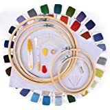 刺しゅうキット AUSHEN刺繍ツールセット 竹製 刺繍枠5本 60色刺繍糸  刺繍針30本 刺繍用布2枚18x12インチ 抜糸ツール はさみ 系抜き 糸通しなど 114pcs 初心者
