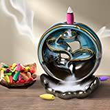 Incense Burner Rounded Waterfall Smoke Backflow Ceramic Cone Holder + 10 Cones Spiritual ecstasy