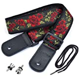 CLOUDMUSIC Hawaiian Ukulele Strap with Red Roses Flowers for Soprano Concert Tenor Baritone
