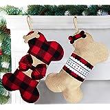 Senneny 2 Pack Pet Dog Christmas Stockings Buffalo Red Black Plaid Burlap Large Bone Shape Hanging Christmas Stocking for Dog
