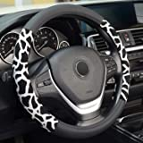 ZHOL Universal 15 Inch Microfiber Leather Car Steering Wheel Cover,Non-Slip, Comfortable, Breathable, Black and Silver