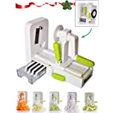 Vegetable Spiralizer, Foldable Premium 5 Blade Spiralizer Zucchini and Vegetable Spiral Slicer. Specially Made for Vege Based