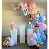DIY 120PCS Gender Reveal Balloon Garland Kits Chrome Metallic Latex Balloons 12inch Pearl Balloons for Birthday Party Celebra