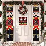 3-Pieces Merry Christmas Nutcracker Soldier Decor Welcome Santa Door Hanging Banner For Front Door Farmhouse Buffalo Red Blac