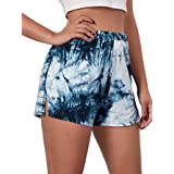 Romwe Women's Tie Dye Running Shorts Elastic Waist Slit Lounge Shorts
