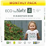 Eco by Naty Baby Diapers, Size 4, 156 Ct, Plant-based with 0percent Oil Plastic on Skin, One Month Supply