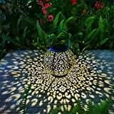 Solar Large Lantern Outdoor Hanging Lights Metal Decorative Garden Lights Waterproof Table Lamp for Patio, Courtyard, Party D