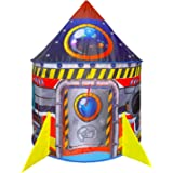 BESTPARTY Rocket Ship Kids Play Tent Indoor Outdoor Pop Up Tent, Kid Playhouse Conveniently Folds into a Carrying Bag, Toys G
