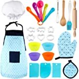 Vanmor Kids Basic Cooking and Baking Set, 26 Pcs Kids Chef Role Play for Little Boys and Girls Includes Apron, Chef Hat, Cook