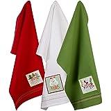 "Cotton Christmas Holiday Decorative Dish Towels, Cozy Christmas - Dishtowel Set of 3, 18"" x 28"""