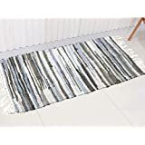 Chindi Rug Reversible Rag Cotton Hand Woven Throw Area Rugs for Kitchen Bedroom Bathroom Livingroom Washable Stripe Grey 22""