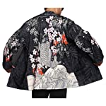 Hao Run Men Japanese Yukata Coat Kimono Jacket Vintage Loose Top Warm Dragon Fish Retro