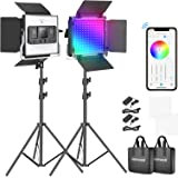 Neewer RGB Led Video Light with APP Control, 360°Full Color, 50W 660 PRO Video Lighting Kit CRI 98+ for Gaming, Streaming, Zo