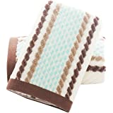 Pidada Hand Towels Set of 2 Striped Pattern 100% Cotton Super Soft Highly Absorbent Hand Towel for Bathroom 13 x 28 Inch (Bro