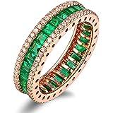 AMdxd 18K Gold Women Rings Diamond Ring Wedding Rings with White Green Diamond Emerald