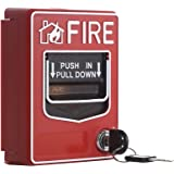 UHPPOTE Wired 9-28VDC Conventional Manual Call Point Fire Reset Push in Pull Down Emergency Alarm Station Dual Action