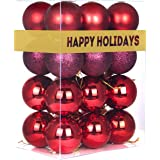"""GameXcel Christmas Balls Ornaments for Xmas Tree - Shatterproof Christmas Tree Decorations Large Hanging Ball Wine Red 2.5"""" x"""