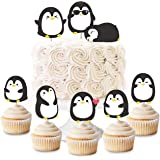 Penguin Cupcake Toppers Picks for Boys Girls Birthday Party Baby Shower Supplies 24 Pack