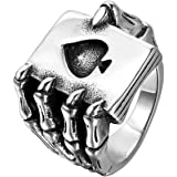 JewelryWe Mens Stainless Steel Ring, Gothic Skull Hand Claw Poker Playing Card, Black Silver, for Halloween (with Gift Bag)