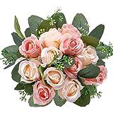 AGEOMET 17pcs Artificial Rose Flowers, 12 Silk Fake Flowers Rose and 5 Artificial Eucalyptus Leaves Stems in Bulk, for Home B