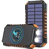 【Amazon限定ブランド】ADDTOP モバイルバッテリー ソーラー 26800mAh ソーラーチャージャ一 大容量 Type-c 急速充電 3つ出力ポート ワイヤレス充電器 PSE認証済 防水 耐衝撃 高輝度LEDライト iPhone/Andro