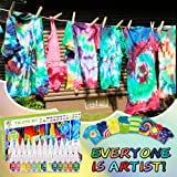 Tie Dye Kits 26色の絞り染めキット、Caloyee 永久ワンステップ絞り染めキット、DIY手作りの芸術品や工芸品の生地テキスタイルパーティー用