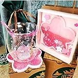 TAOT Lovely Cat's Claw 6oz Sakura Cup Glass w/Pink Sakura Coaster & Stick,cat paw Cups,Tea Set, Ladies Tea Set, Latte Cup