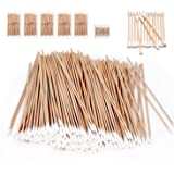 (5 Bag-500 Pcs) - 500 Pcs Long Wooden Cotton Swabs, Cleaning Sterile Single Sticks Ball for Medical Oil Makeup Supplies Glue