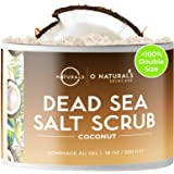 O Naturals Exfoliating Coconut Oil Dead Sea Salt Deep-Cleansing Face & Body Scrub. Anti-Cellulite Tones Helps Oily Skin, Acne