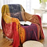 MayNest Bohemian Tribal Throws Blankets Reversible Colorful Red Blue Boho Hippie Chenille Jacquard Fabric Throw Covers Large
