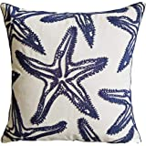 FINOHOME Embroidery Starfish Throw Pillow Cover,Ocean Series Nautical Decorative Pillow Case Imitation Linen Square Cushion C