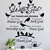 2 Pieces with God Things are Possible Wall Decal Vinyl Quote Bible Sticker Christian Praise God DIY Decals Inspirational Quot