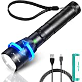 1500 Lumens LED Zoom Flashlight USB Rechargeable Flashlight, IPX6 Waterproof Tactical Flashlight (With 18650 Battery), Suitab