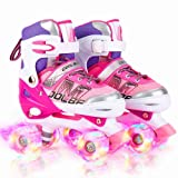 Otw-Cool Adjustable Roller Skates for Girls and Women, All 8 Wheels of Girl's Skates Shine, Safe and Fun Illuminating for Kid