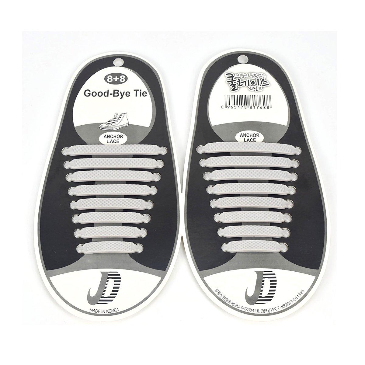 結ばない靴ひも 靴ひも 靴紐 ほどけない シリコン製 シューレース 便利 伸縮性 防水 着脱簡単 男女兼用 スニーカー紐 16本入り ホワイト
