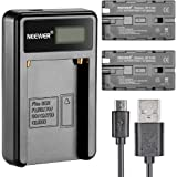Neewer Micro USB Battery Charger + 2-Pack 2600mAh NP-F550/570/530 Replacement Batteries for Sony HandyCams, Neewer Nanguang C