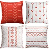 WLNUI Rusty Pillow Covers 18x18 Inch Boho Modern Square Throw Pillow Covers Geometric Mudcloth Cotton Linen Neutral Decorativ