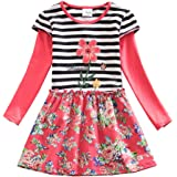 JUXINSU Toddler Girl Cotton Stripe Long Sleeve Dress Flower Casual Dresses for Baby Clothes 3-8 Years LH6609