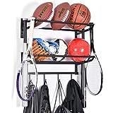 Sports Equipment Storage Rack for Baseball/Basketball/Football/Badminton/Golf/Yoga/Exercise Balls - Four Badminton Tennis Hol
