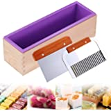 Ogrmar Flexible Rectangular Soap Silicone Mold With Wood Box DIY Tool For Soap Cake Making 42oz (Purple)