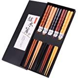 GLAMFIELDS Reusable Chopsticks Japanese Natural Wooden Classic Style 5 Pairs Lightweight Hand-Carved Safe Chop Sticks 8.8 Inc