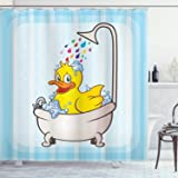 Kids Shower Curtain Nursery Animal Bathroom Decorations, Yellow Rubber Duck Taking Bubble Bath in Bathtub, Polyester Fabric B